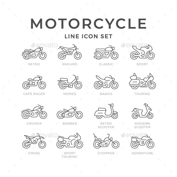 Set Line Icons of Motorcycle