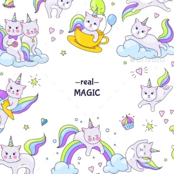 Unicorn Cats Stickers Border