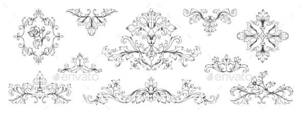 Floral Baroque Ornaments - Flourishes / Swirls Decorative