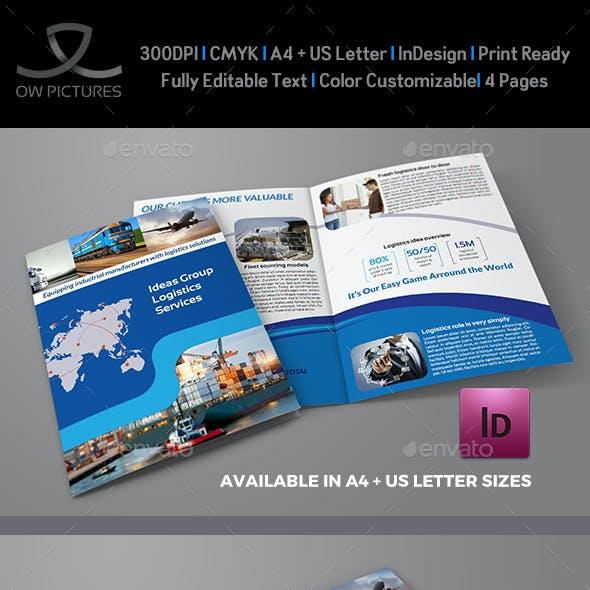 Logistics Services Bi Fold Brochure Template