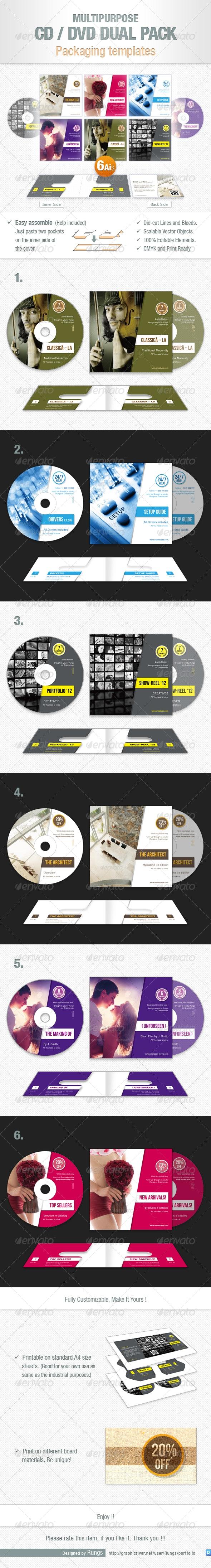 Multipurpose CD / DVD Dual Pack - Packaging Print Templates