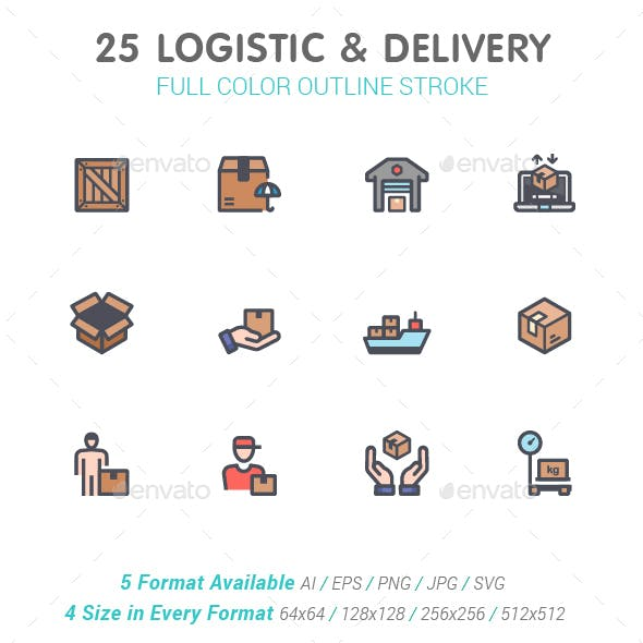 Logistic & Delivery Line with Color