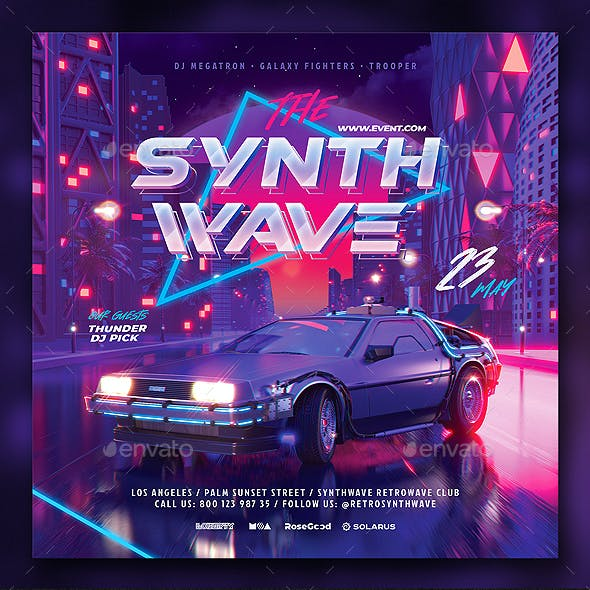 Party Flyer Synth Wave