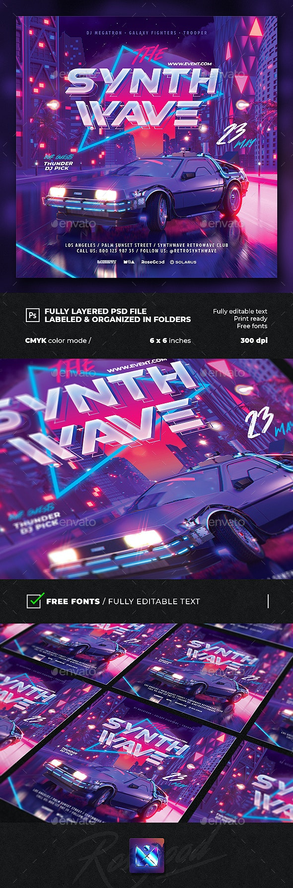 Party Flyer Synth Wave - Clubs & Parties Events