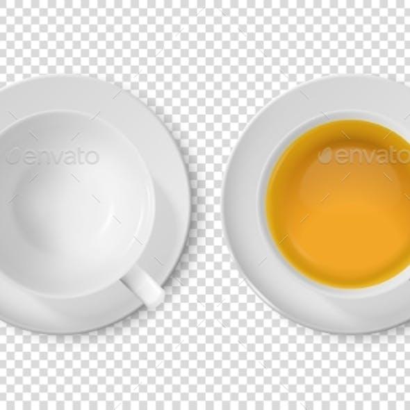 Vector Realistic White Ceramic Cups