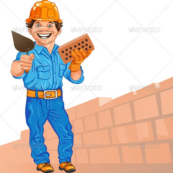 vector cheerful bricklayer with brick and trowel