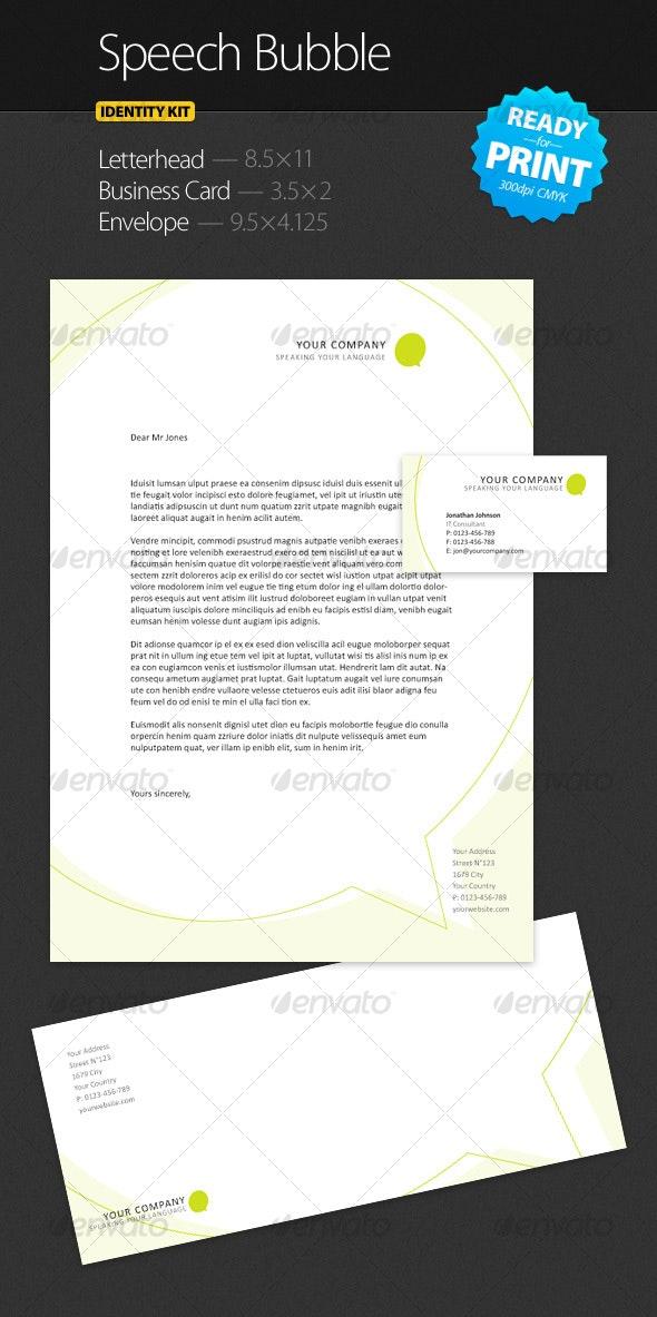 Speech Bubble - Identity Kit - Stationery Print Templates