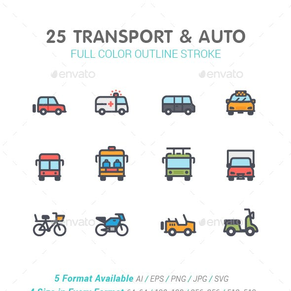 Transport & Auto Line with Color Icon Set