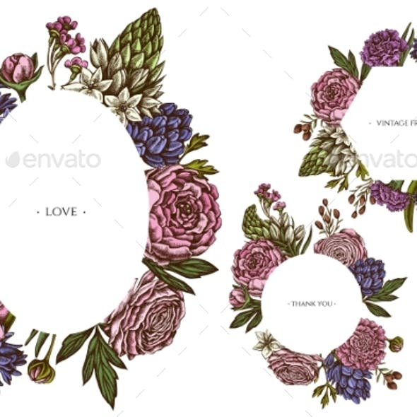 Floral Frames with Colored Peony and Carnation