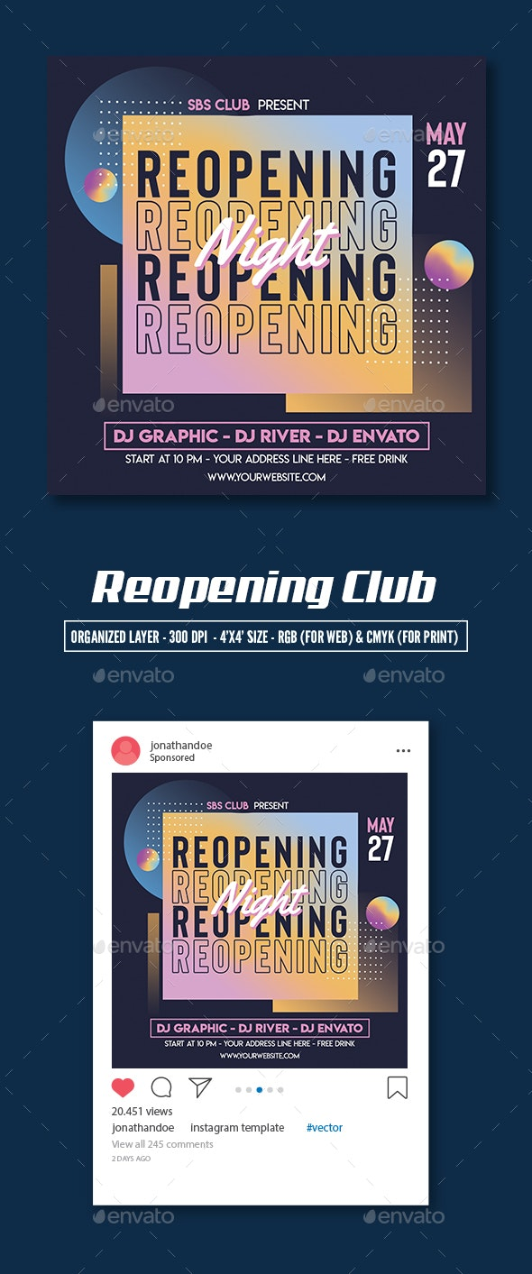 Re-opening Club Flyer Template - Clubs & Parties Events