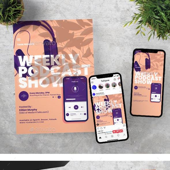 Podcast Talks Show Flyer Instagram Set