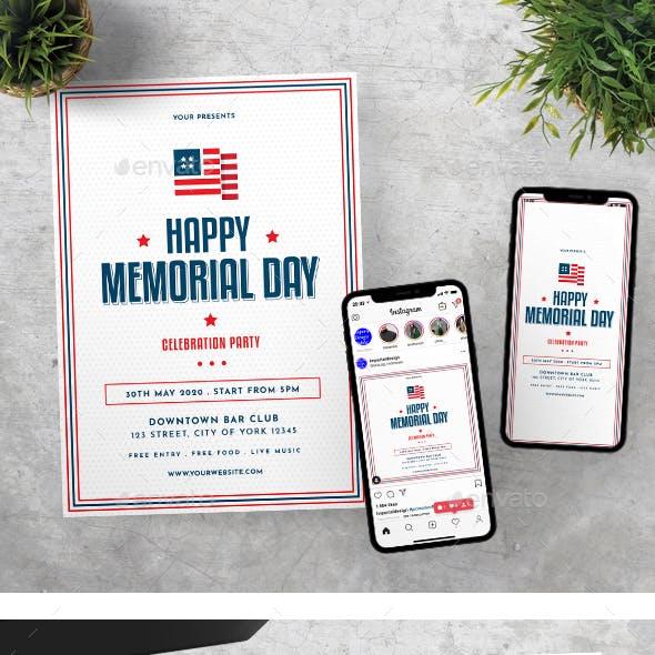US Memorial Day Flyer Instagram Set Template