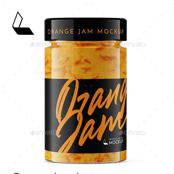Orange Jam Jar Mockup