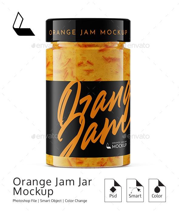 Orange Jam Jar Mockup - Product Mock-Ups Graphics