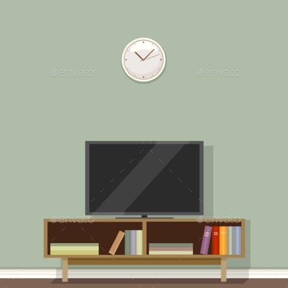 Vector Flat Illustration - TV Set on Commode