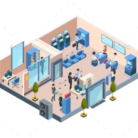 Bank Interior Isometric Business Financial