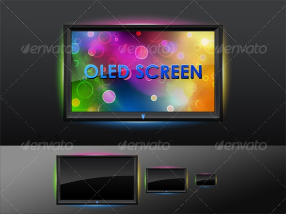 OLED Flat Screen - Technology Icons