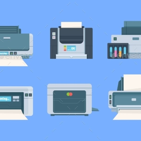 Printers. Documents and Photo on Papers Copy