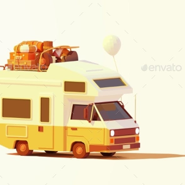 Vector Retro Camper Van