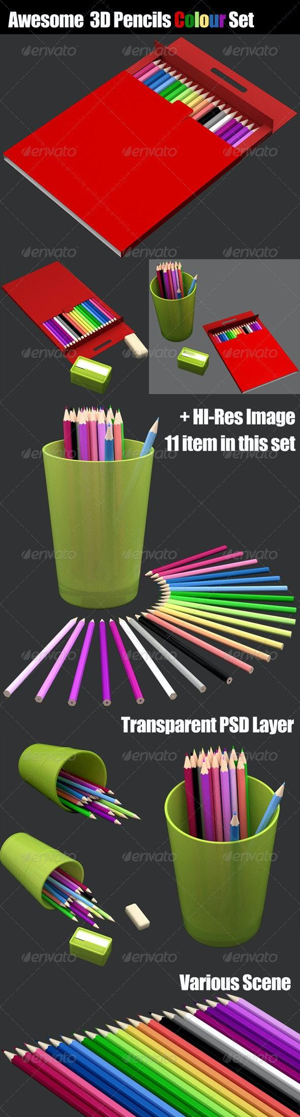 3D Pencils Colour Set - Objects 3D Renders