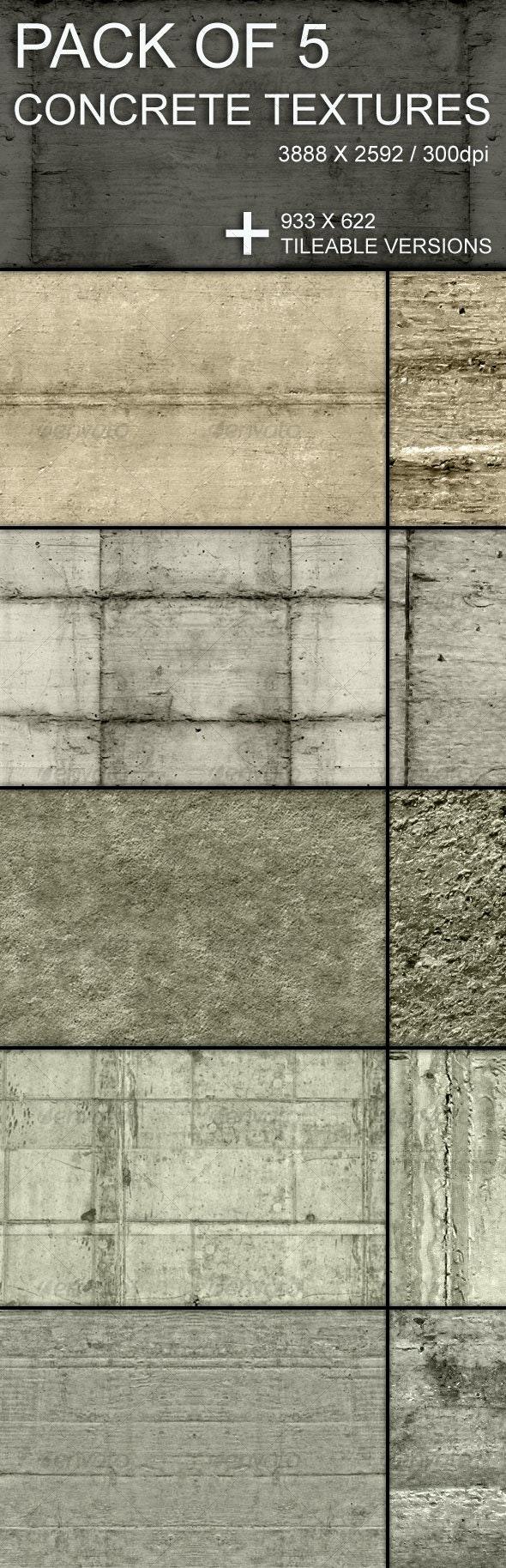 Tileable Concrete Textures Set - Concrete Textures