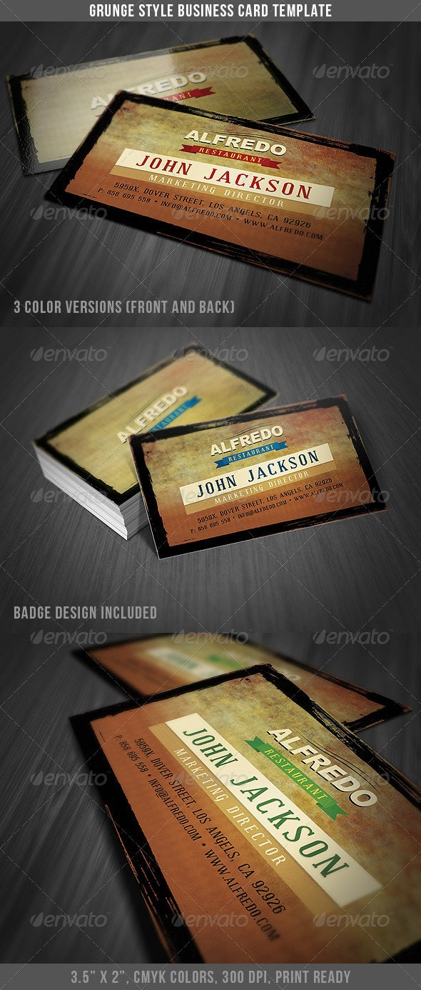 Grunge Style Business Card - Business Cards Print Templates