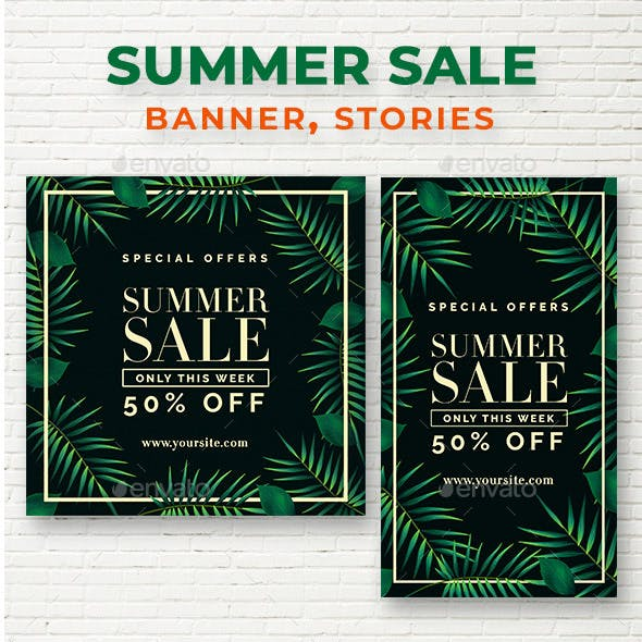 Summer Sale Instagram Post & Stories