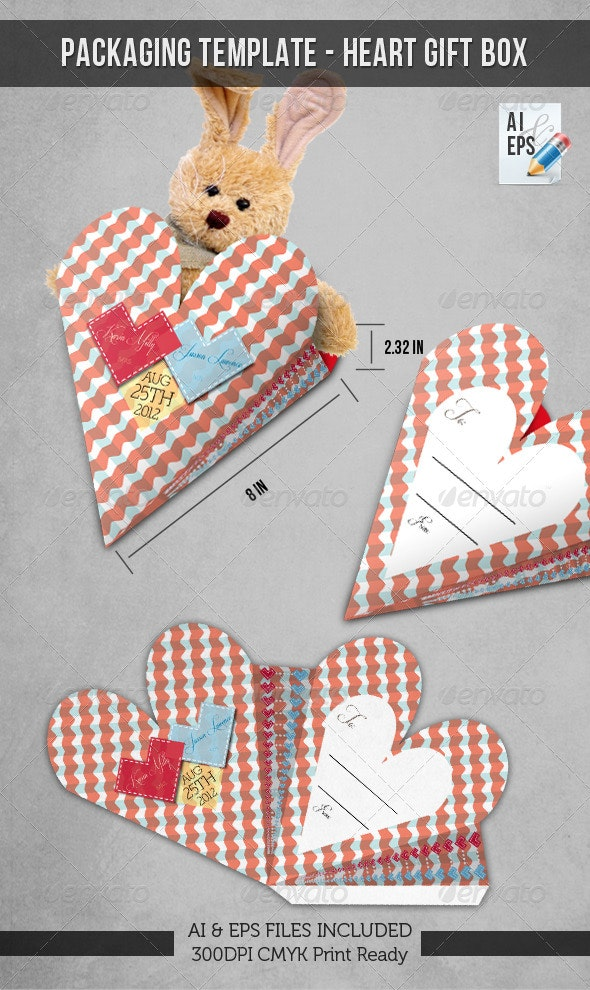 Packaging Template - Heart Gift Box - Packaging Print Templates