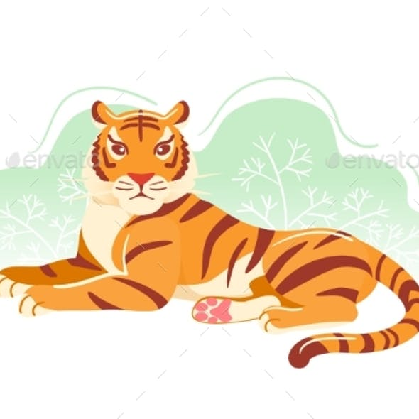Modern Tiger Flat Postcard. Cartoon Animal
