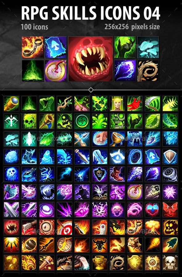 RPG Skills Icons 04 - Miscellaneous Game Assets
