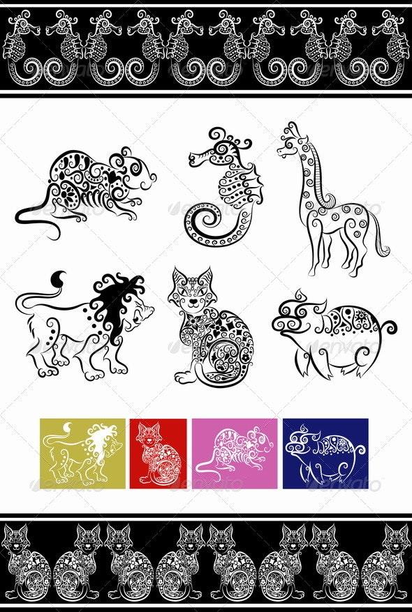Animal ornaments (cat, lion, seahorse, etc.) - Decorative Symbols Decorative