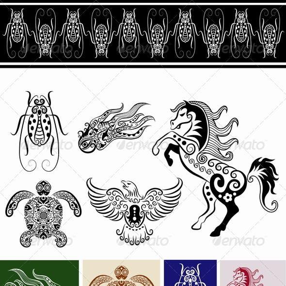 Animal ornaments (horse, bug, turtle, etc.)