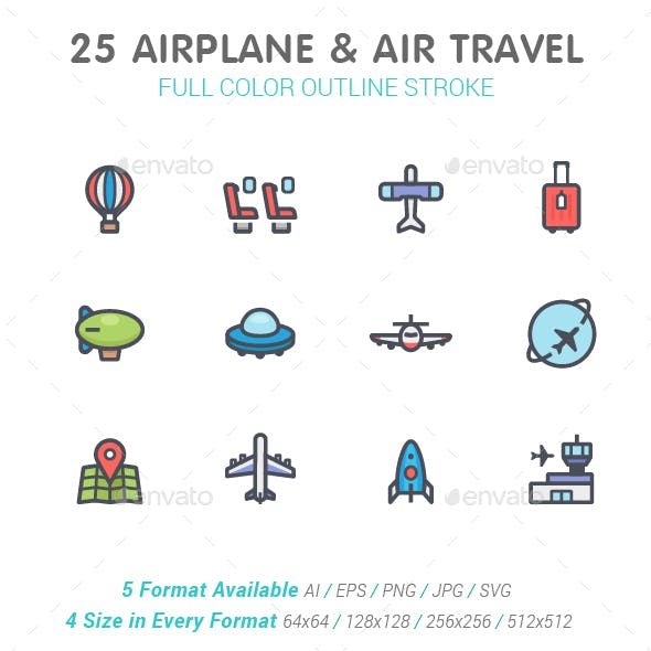 Airplane & Transport Line with Color Icon Set