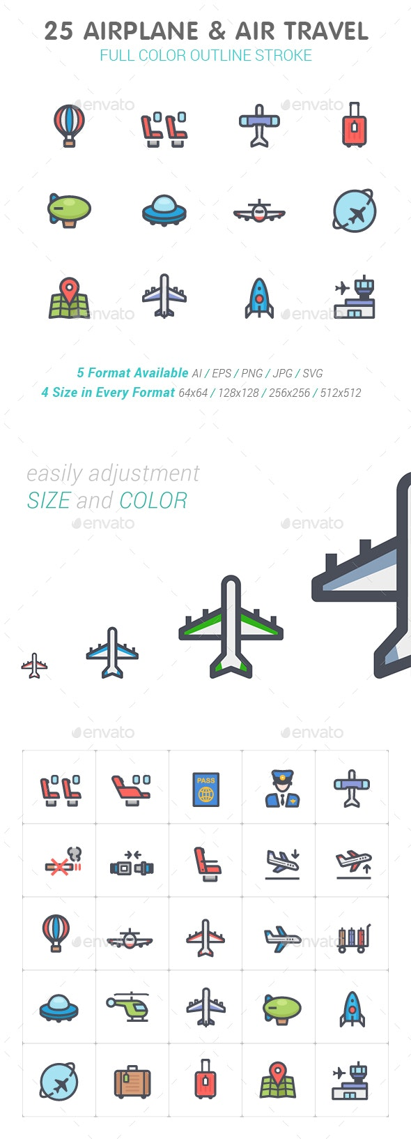 Airplane & Transport Line with Color Icon Set - Objects Icons