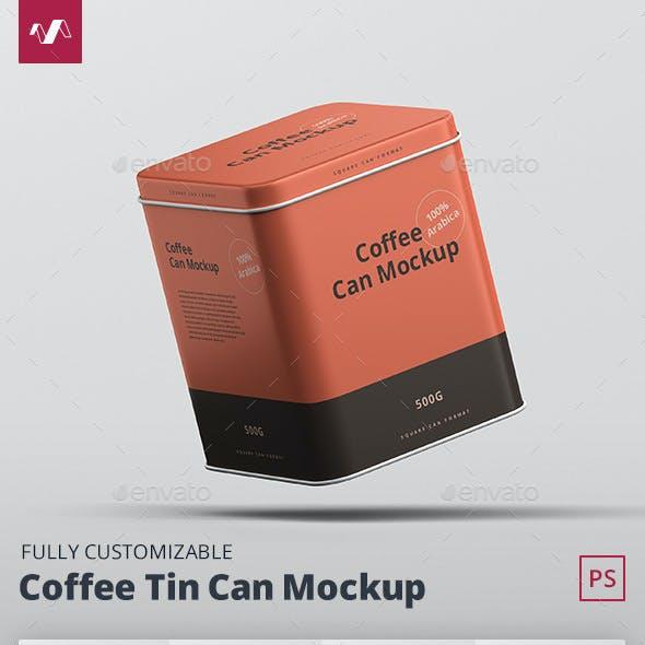 Coffee Tin Can Mockup Square