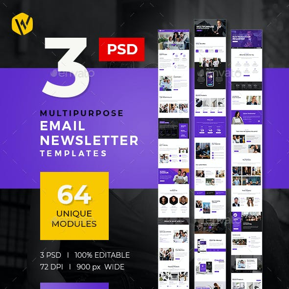 3 E-Newsletter Email PSD Templates