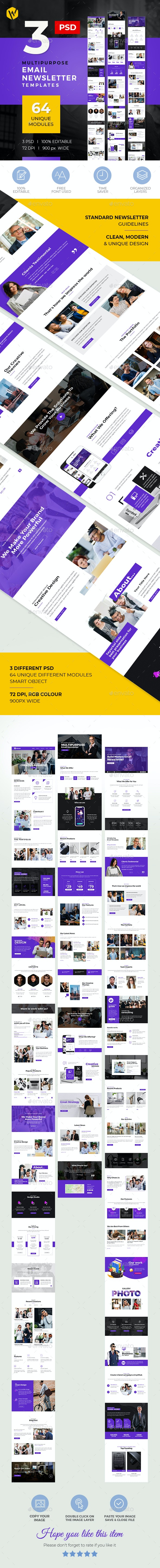 3 E-Newsletter Email PSD Templates - E-newsletters Web Elements