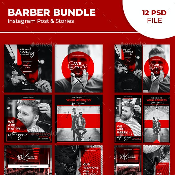 Barber Instagram Post & Stories Bundle