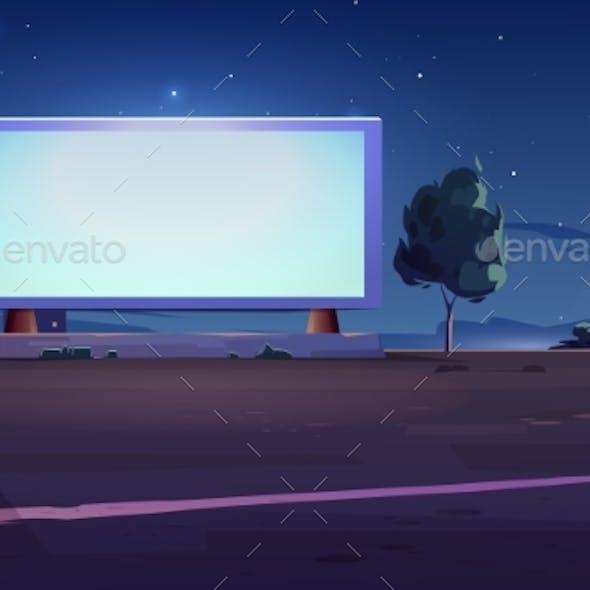 Blank Billboard Display on Roadside White Screen