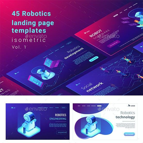 Robotics Isometric Concept Landing Pages