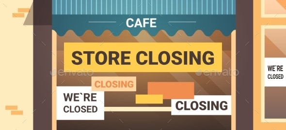 Empty Closed Cafe with Yellow Bankruptcy Closing - Miscellaneous Vectors