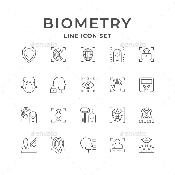 Set Line Icons of Biometry