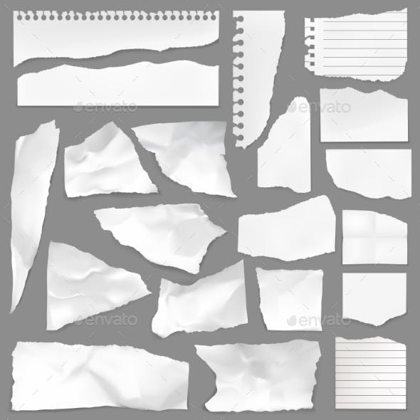 Torn Note Paper Scraps, Ripped Blank Pieces
