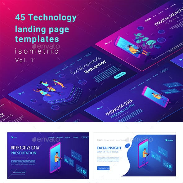 Isomentric Technology Landing Page Templates