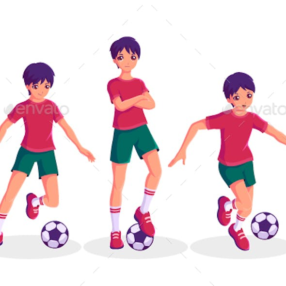 Boy Play Football Cartoon Character Vector