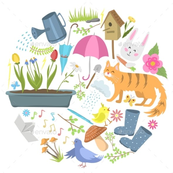 Spring Time Round Pattern Flat Vector Illustration
