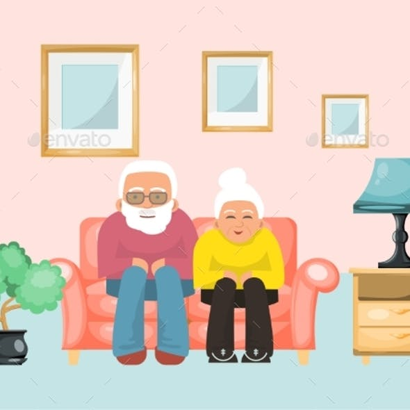 Old Couple Lovely Male Female Sitting Sofa, Ages