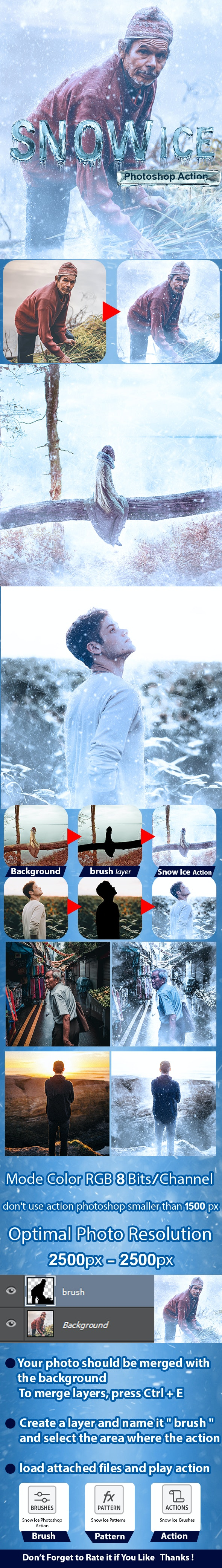 Snow Ice Photoshop Action - Photo Effects Actions