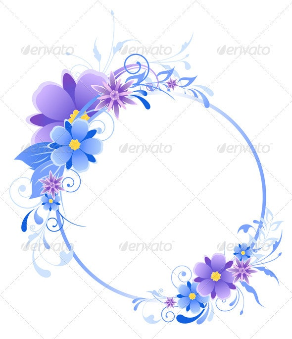 Blue  Banner with Flowers - Flowers & Plants Nature