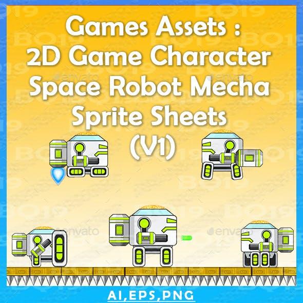 Games Assets : 2D Game Character  Space Robot Mecha  Sprite Sheets  (V1)